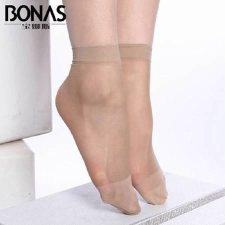 宝娜斯/BONAS包芯丝短袜10双简装防脱丝丝袜女士袜子短丝袜