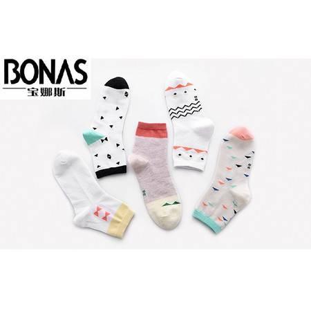 【包邮】宝娜斯/BONAS儿童袜子纯棉袜子5双礼盒装春秋款男女童袜学生袜GCD-212