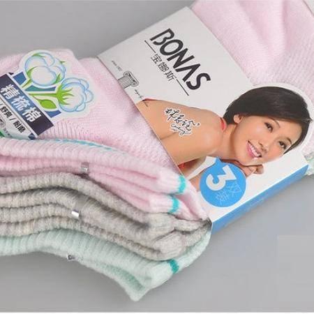 宝娜斯/BONAS精梳棉休闲地板女袜3条装