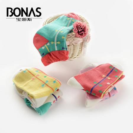 【包邮】宝娜斯/BONAS 5双装儿童袜子纯棉加厚秋冬款男女童短袜中筒童袜学生袜QD15-36
