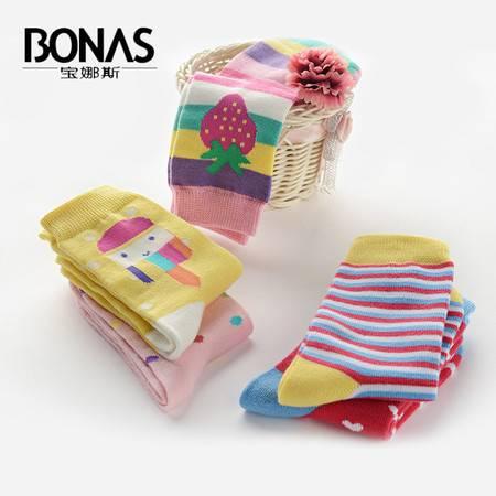 【包邮】宝娜斯/BONAS 5双装儿童袜子纯棉加厚秋冬款男女童短袜中筒童袜学生袜QD15-28