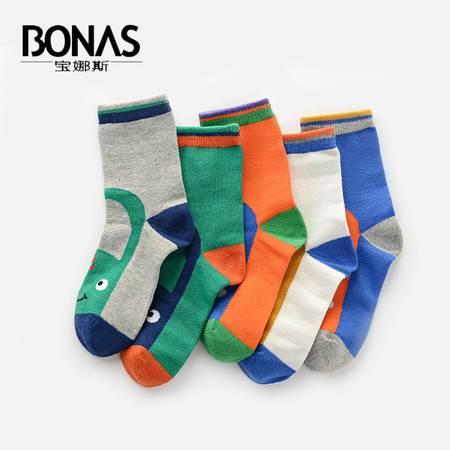 【包邮】宝娜斯/BONAS 5双装儿童袜子纯棉加厚秋冬款男女童短袜中筒童袜学生袜QD15-31