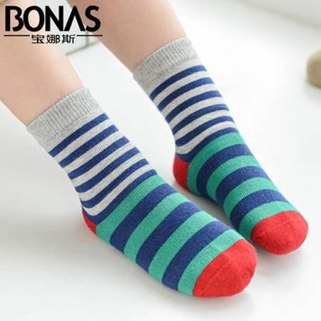 【包邮】宝娜斯/BONAS 5双装 儿童袜子纯棉加厚秋冬款男女童短袜中筒童袜学生袜QD15-18