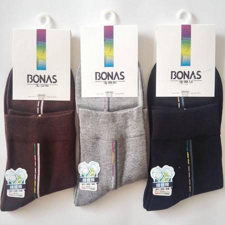 宝娜斯/BONAS 秋冬新款时尚精梳棉男袜吸汗防臭中筒棉袜男士棉袜袜子 一双装02265