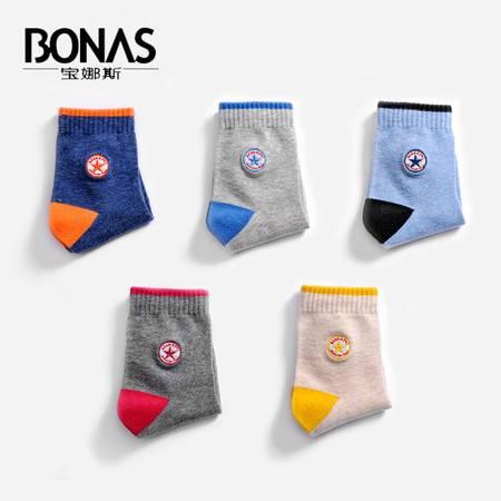 【包邮】宝娜斯/BONAS  5双装儿童袜子纯棉加厚秋冬款男女童短袜棉袜中筒童袜学生袜B1628