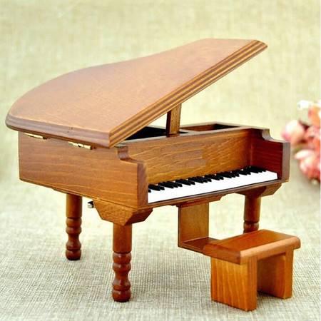 创意玩具钢琴音乐盒 木质八音盒生日礼物天空之城单曲