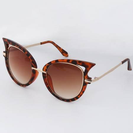 复古太阳镜 豹纹 猫眼 欧美时尚 女款墨镜 R00206