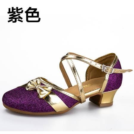 自然牛 秋冬拉丁舞鞋儿童女孩女童中跟舞蹈鞋练功跳舞鞋子软底演出