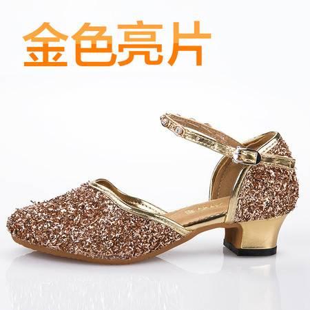 自然牛 秋冬拉丁舞鞋儿童女孩女童舞蹈鞋中跟跳舞鞋少儿软底练功鞋
