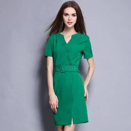 蒂妮佳2016夏季新款韩版女装v领短袖修身显瘦包臀白领职业连衣裙7616
