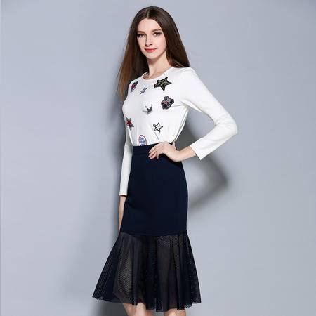 2016早秋新款欧美贴图女士长袖T恤包臀网纱鱼尾半身裙两件套套装1409