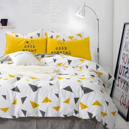九洲鹿北欧床上纯棉四件套 全棉1.5米1.8m双人被套床单简约4件套