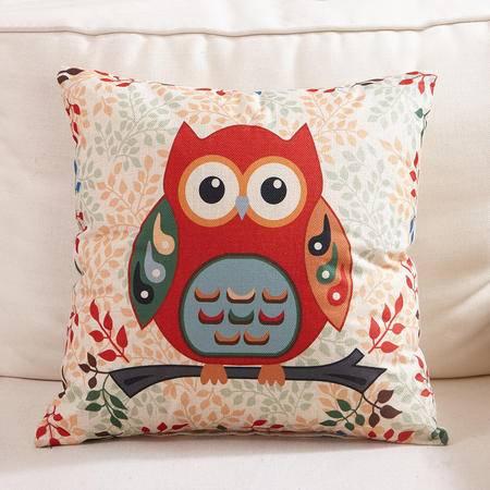 九洲鹿 亚麻风格卡通印花款抱枕靠垫 多功能午睡 单个
