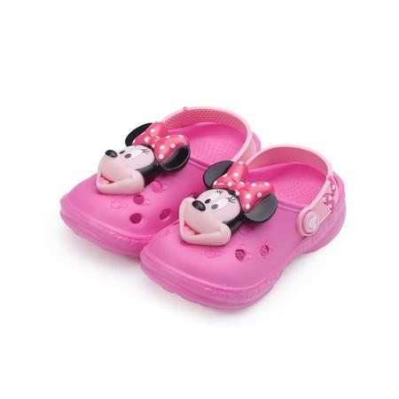 闪灯花园鞋立体造型米妮卡通小童凉鞋洞洞鞋 ME16068 枚红色