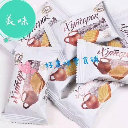 米格士 俄罗斯小农庄奶罐威化饼干鲜奶芝士250g进口早餐零食