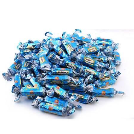 米格士 俄罗斯进口食品 酸奶威化炼乳白巧克力糖果零食 500克