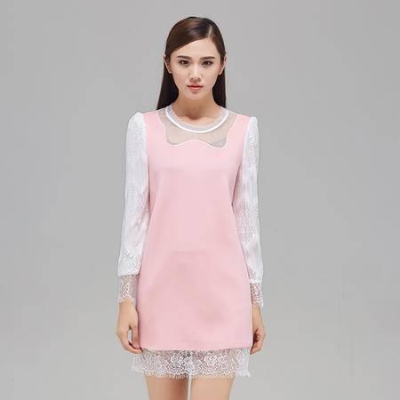 村上春2015冬装新款清爽新颖空气层拼接蕾丝H型连衣裙44153242