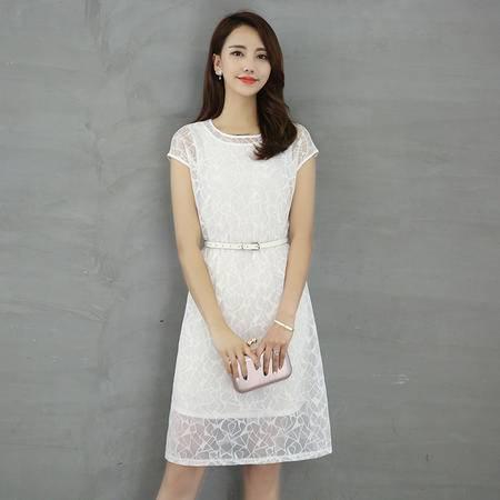 村上春2016夏装新款蕾丝圆领修身连衣裙显瘦镂空气质两件套裙子女