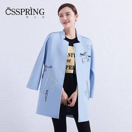村上春2016春装新款风衣中长款修身显瘦立领韩版外套女53242653