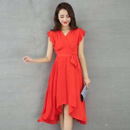 村上春2016夏装新款时尚修身短袖裙子A字雪纺连衣裙显瘦中长裙