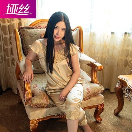 垭丝丝绸100%天然桑蚕丝女重磅真丝性感蕾丝夏两件套素绉缎