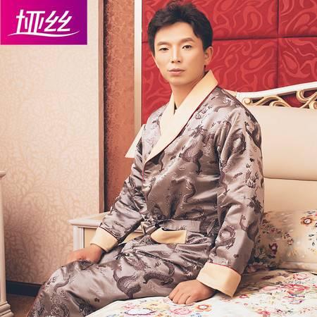 垭丝丝绸100%天然桑蚕丝男重磅真丝丝绒织绵缎龙纹睡袍冬套