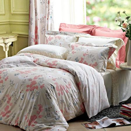 卡撒天娇床上被套全棉四件套田园简约纯棉四件套双人床单包邮
