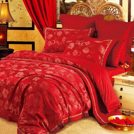 CASABLANCA/卡撒天娇家纺婚庆床品结婚六件套红色结婚床上套件