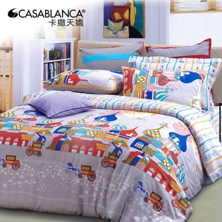 卡撒天娇床上卡通全棉潮男孩四件套被套女孩纯棉床单四件套1.5m