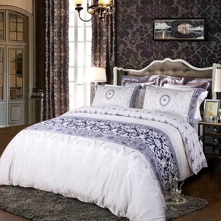 香港卡撒天娇高级长絨棉全棉贡缎四件套欧式床套床单四件套