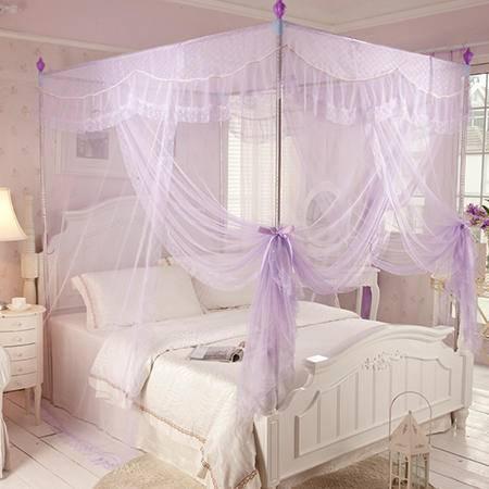 欧派(OPAR)150*200cm加粗不锈钢三开门蚊帐 豪华宫廷蚊帐 1.5m-1.8m床适用紫色