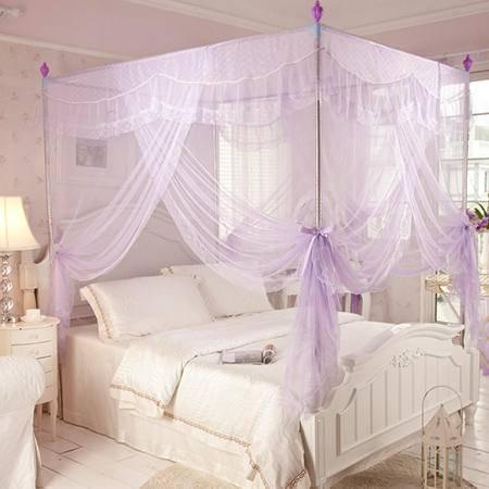 欧派(OPAR)180*200cm加粗不锈钢三开门蚊帐 豪华宫廷蚊帐 1.8m-2m床适用紫色