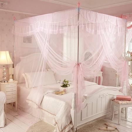 欧派(OPAR)180*200cm加粗不锈钢三开门蚊帐 豪华宫廷蚊帐 1.8m-2m床适用粉色