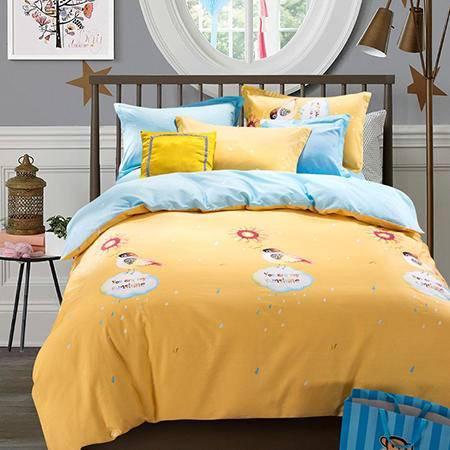欧派(OPAR)1.5-1.8m床适用全棉活性素色卡通印花四件套(适用被套200*230cm)