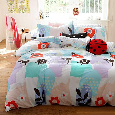 欧派家纺 1.5m床  纯棉套件全棉活性被套床单枕头套四件套 (适用被套200*230cm)