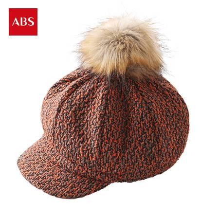ABS爱彼此 Janey詹妮毛球系列女士保暖鸭舌帽