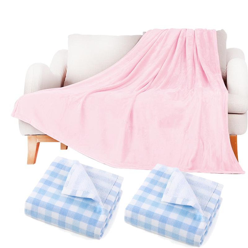 ABS爱彼此 全棉方格毛巾2条装+1.5米x2米法兰绒多用毯空调毯