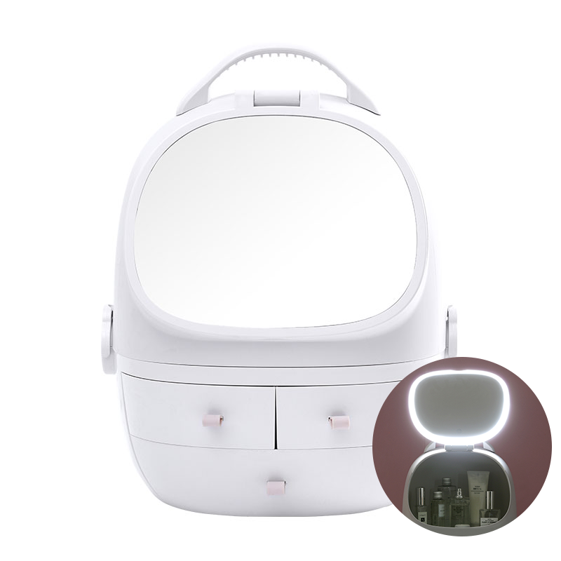 ABS 爱彼此 LED补光灯镜太空舱化妆品收纳盒 梳妆台护肤品置物架 内外双镜面