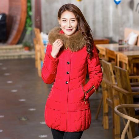 雪骄子女式2016新款大毛领90绒加厚修身保暖时尚中长款羽绒服1318