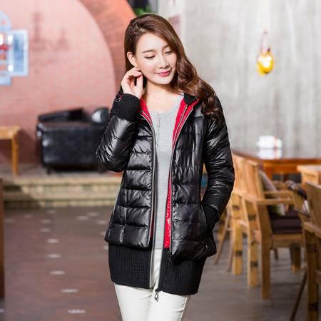 雪骄子女式新款90绒加厚修身保暖时尚韩版中长款羽绒服770反季