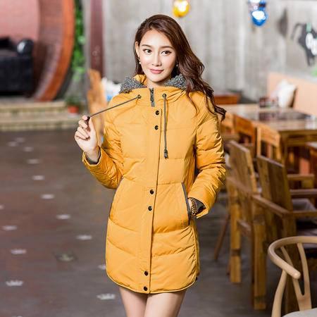 雪骄子女式新款90绒加厚修身保暖时尚韩版中长款羽绒服1206反季