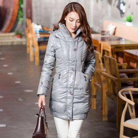 雪骄子女式新款中长款90绒加厚修身保暖韩版羽绒服X769反季清仓