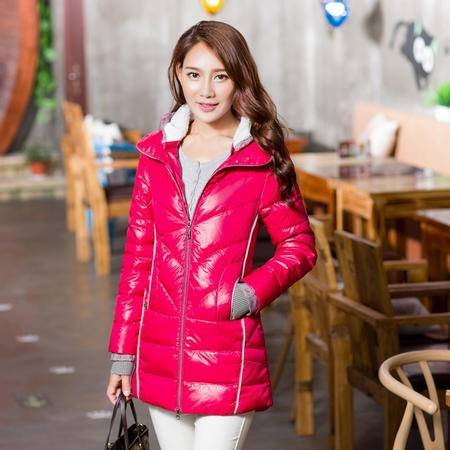 雪骄子女式新款中长款90绒加厚修身保暖韩版羽绒服1226