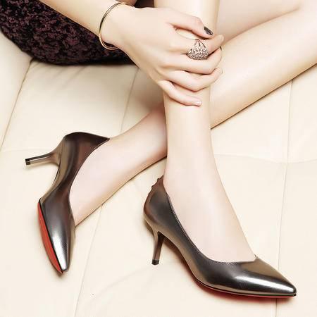 莱卡金顿尖头单鞋女高跟OL优雅时尚女鞋细跟工作鞋潮2016秋季新款6026