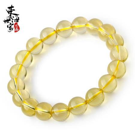 东海世家 黄水晶手链男女款珠子直径10mm推荐女款 柠檬黄水晶单圈手串 水晶时尚饰品