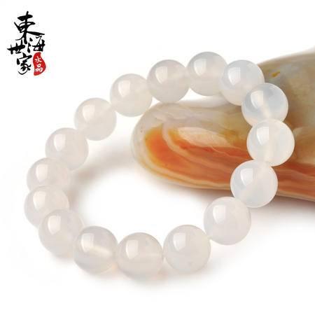 东海世家 白玛瑙手链情侣水晶手串珠子直径10mm标准女款时尚饰品女男民族风