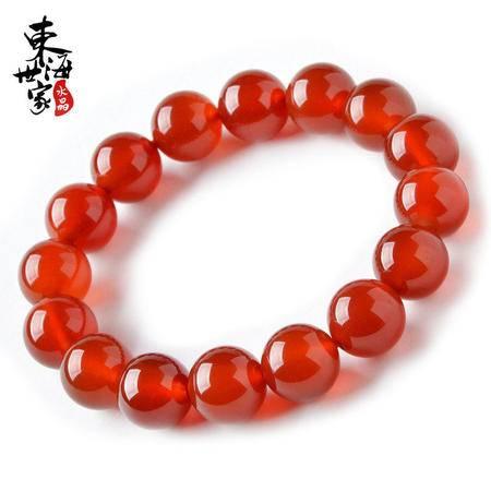 东海世家红玛瑙手链10mm红玛瑙简约款情侣水晶饰品女男