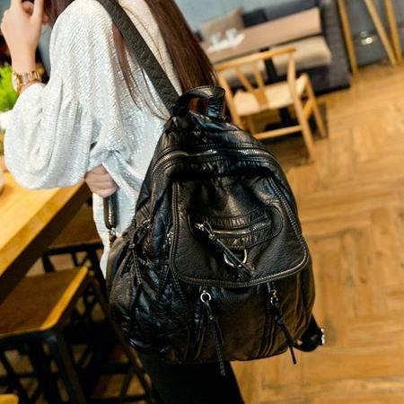 包邮 嘉诗纳女包水洗皮真皮双肩包韩版休闲背包夏款大容量旅行包