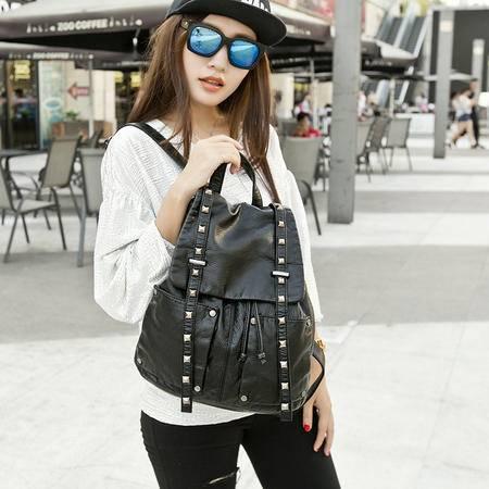 包邮 嘉诗纳女士包包款真皮羊皮铆钉双肩包韩版休闲学院风背包潮黑色书包