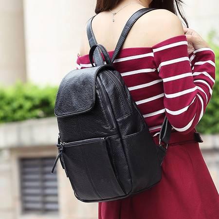 包邮 嘉士娜简约休闲双肩洗水包女真皮新款韩版羊皮背包袋书包时尚旅行包女潮